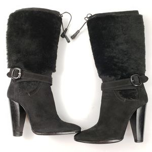 Costume National Black Leather Furry Heeled Boots